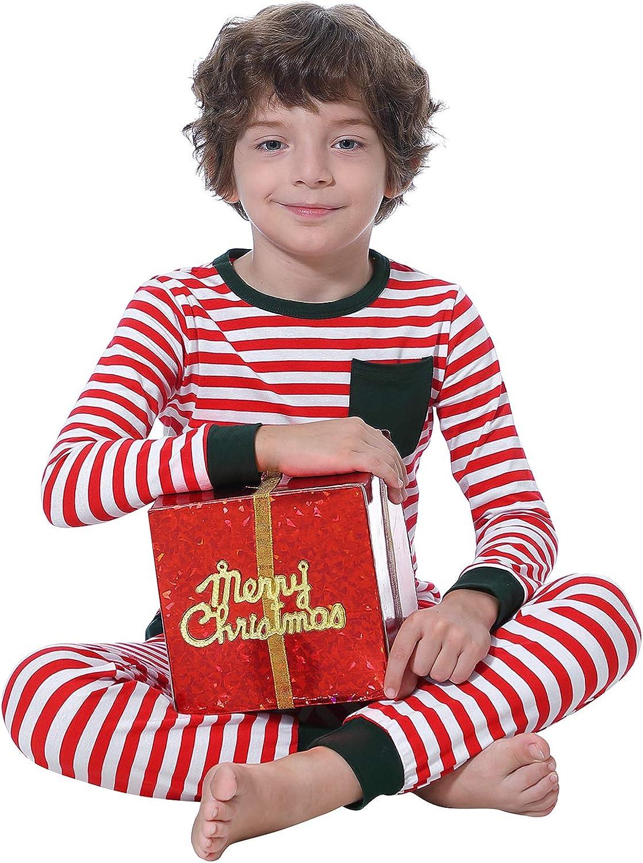 Abollria Matching Family Christmas Cotton Striped Pajamas Set Sleepwear PJS Set for Women//Men//Boys//Girls