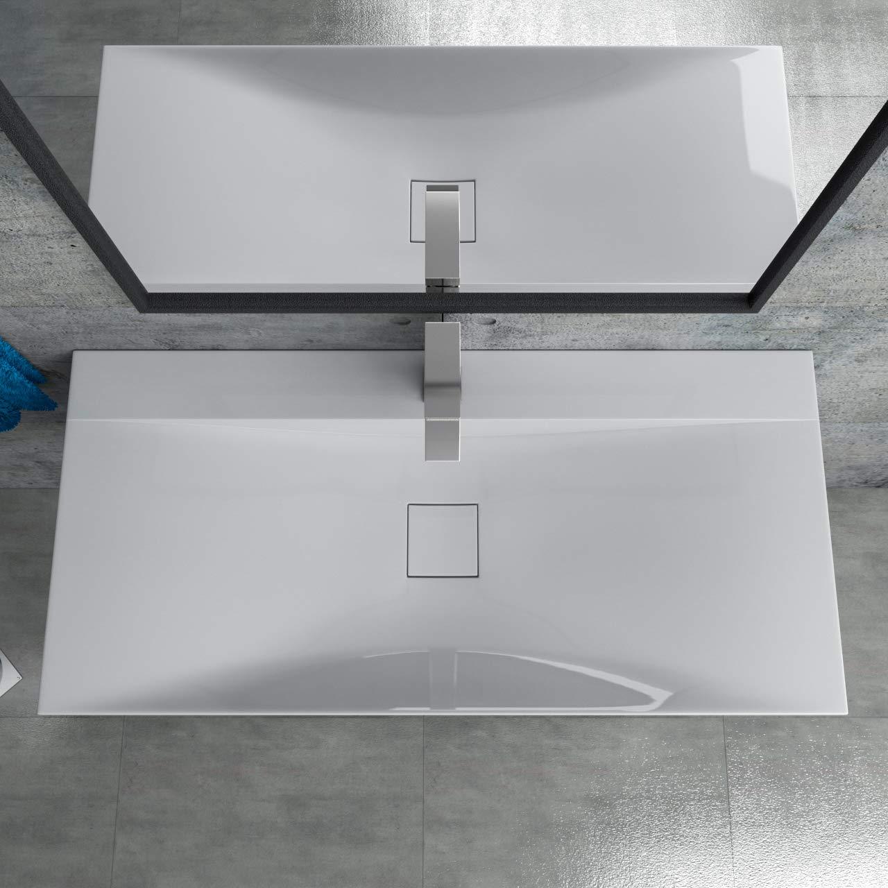 Mineralguss Waschtisch Waschbecken Aufsatzwaschtisch 100x48x10cm CLS810-1000