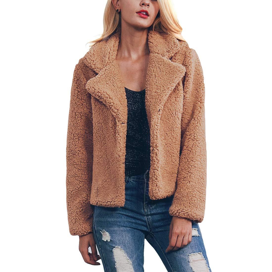 Belgius Women Short Fuzzy Fleece Coat Notch Lapel Sherpa Winter Warm Outwear Coat