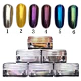 Demarkt 6 Boîtes Miroir Paillette Poudre des Ongles Nail Art Chrome Pigment Scintillement Poudre Manucure