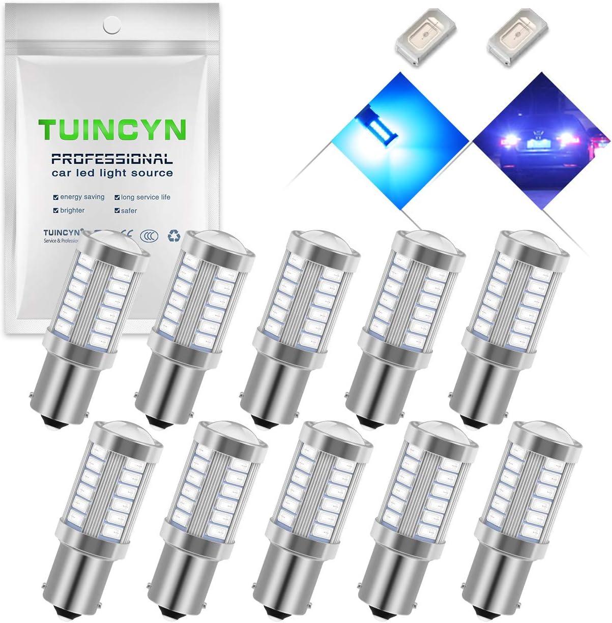 Pack of 2 TUINCYN 1156 LED Bulb Blue Brake Light Bulb Super Bright 5630 33SMD 1141 1073 7506 Tail Light Turn Signals Light Back Up Reverse Light Parking Light Side Marker Bulbs RV Light Lamp