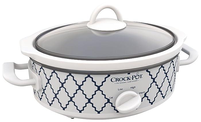 Crock-Pot Casserole Crock Mini Oval Slow Cooker, 2.5-Quart, Blue White/ Trellis