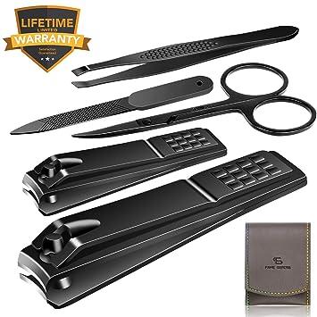 Amazon.com: Juego de cortaúñas de acero inoxidable, kit de ...