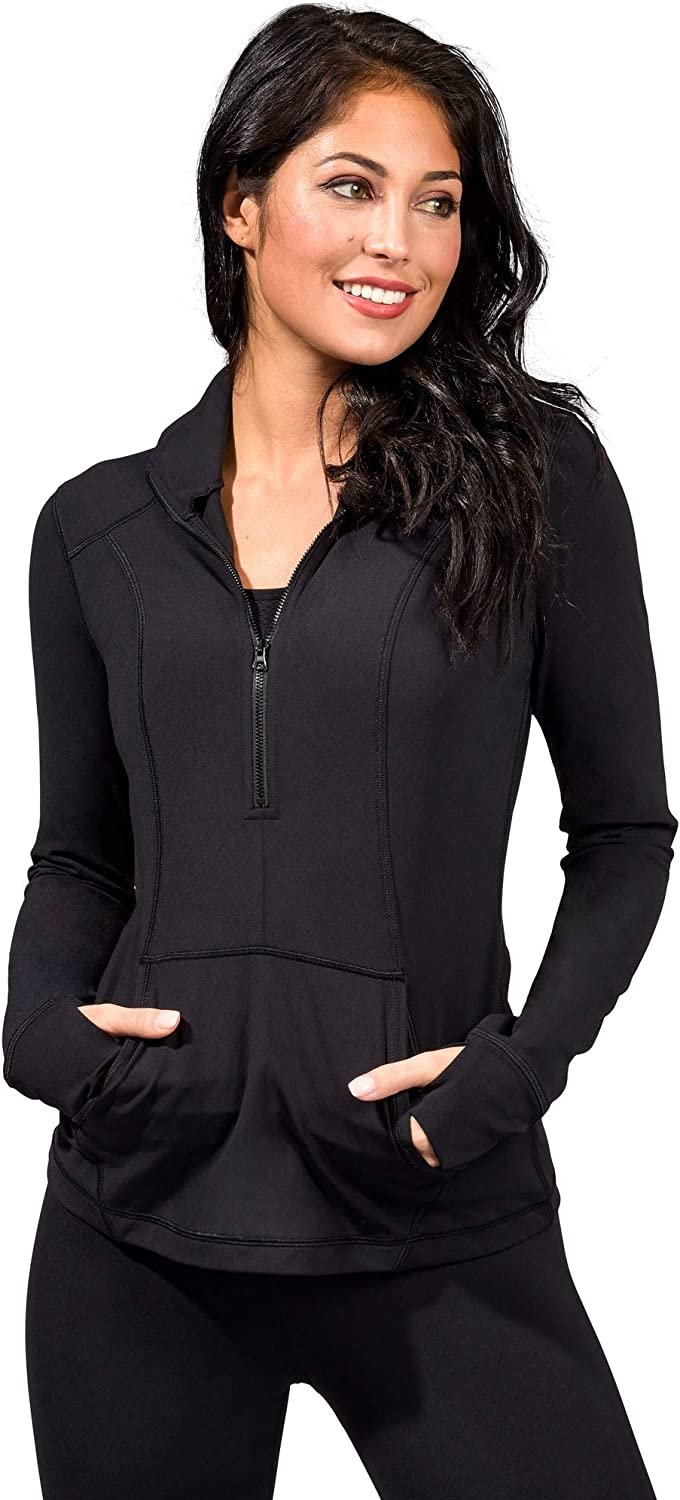 Yogalicious Nude Tech Half Zip Long Sleeve Jacket with Front Pockets at  Women's Clothing store