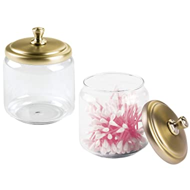 mDesign Glass Bathroom Vanity Storage Organizer Canisters Jars for Cotton Balls, Swabs, Beauty Blenders, Makeup Sponges, Bath Salts, Hair Ties, Jewelry - Pack of 2, Clear Jar/Soft Brass Lid