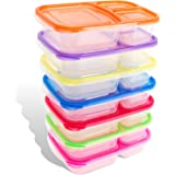 Bento Lunch Boxes - 7-Pack for Kids & Adults - Plastic Divided Box with 3 Compartments , Easy BPA Free , Leakproof , Reusable Food Storage Containers Set | Microwave , Dishwasher and Freezer Safe