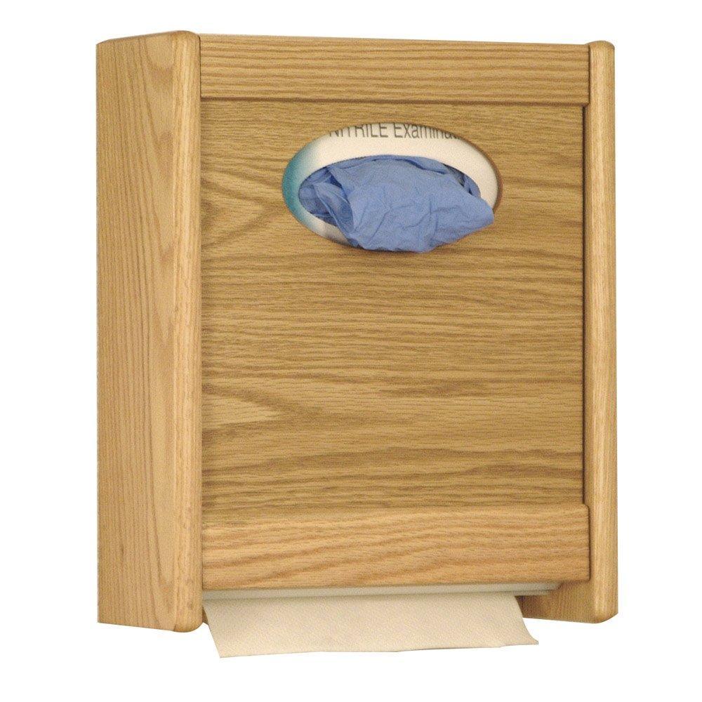 Wooden Mallet Combo Towel Dispenser and Glove/Tissue Holder, Light Oak
