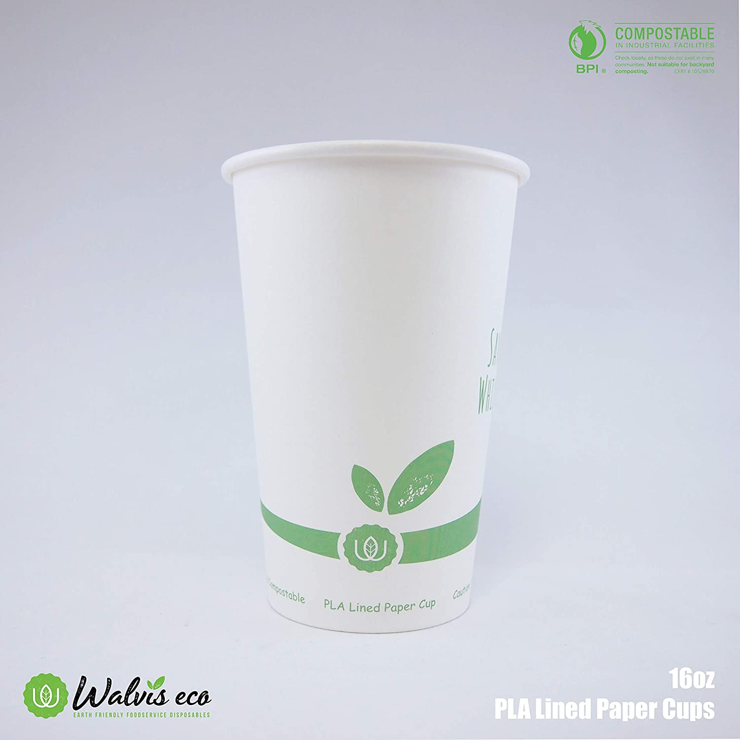 80172badc43 Amazon.com: [100 Cups] Eco-Friendly Compostable PLA-Lined 16oz Paper Cups by  Walvis Eco (Cups ONLY): Kitchen & Dining