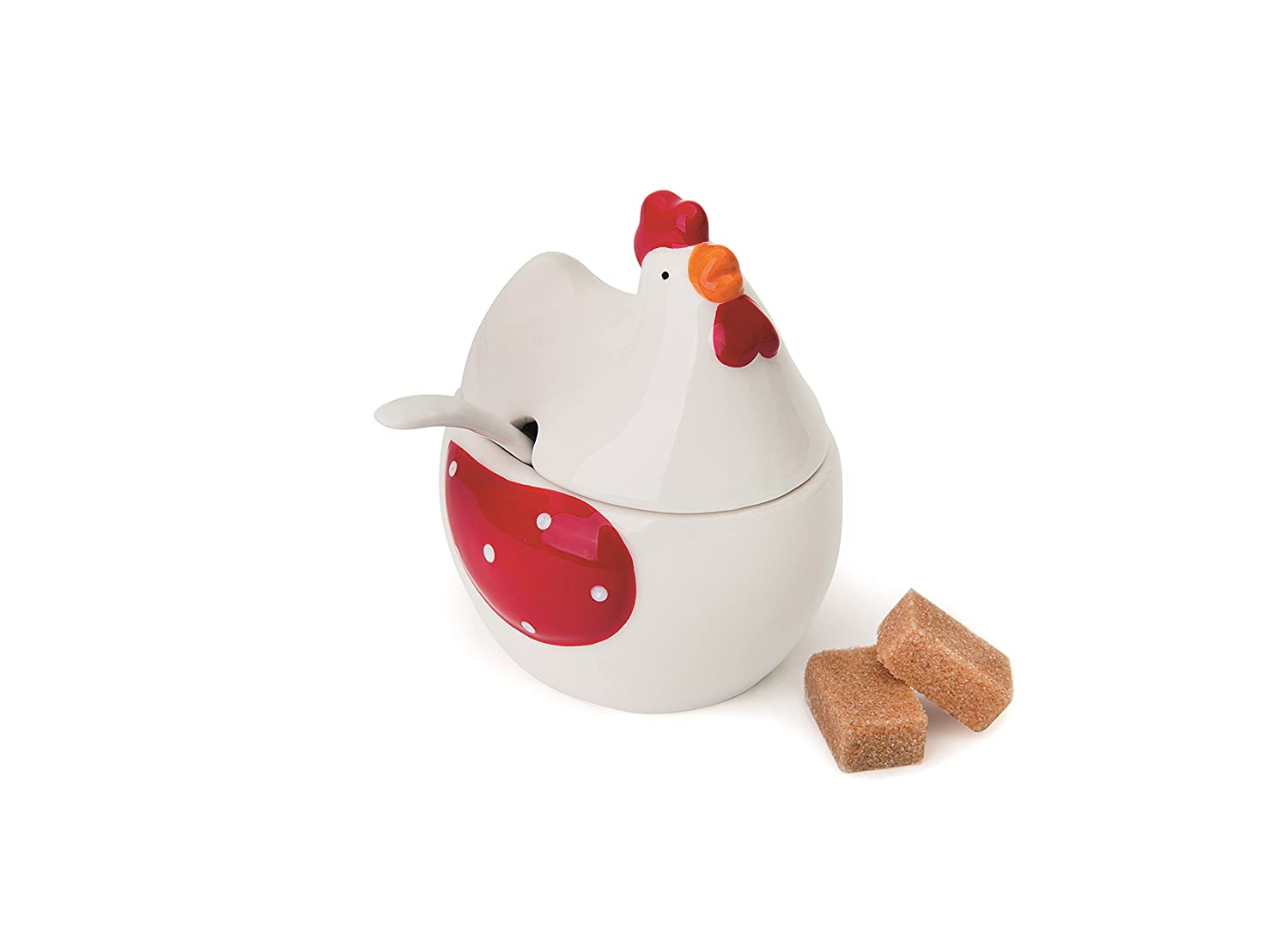 Excelsa Chicken Sugar Bowl with Spoon, Ceramic, White, Red and Yellow Bergamaschi & Vimercati 48869