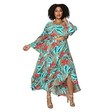 42f11473a73 Astra Signature Women' s Plus Size Boho High Waist Floral Print A Line  Asymmetrical Pleated