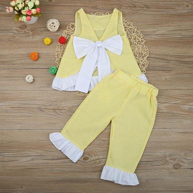 cc6d872ebe Amazon.com  WensLTD 2PCS Kids Baby Girls Cute Bow Vest Top + Shorts Pants  Clothes Outfits (5T
