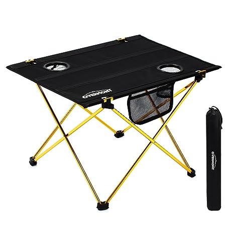 Overmont Mesa plegable ultraligero portatil para acampar camping pesca senderismo picnic playa barbacoa viaje caza y