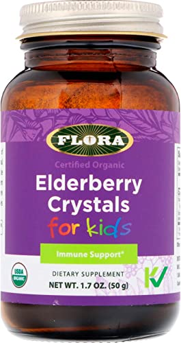 FLORA Elderberry Crystals for Kids 50g - Immune Support Supplement Cold Symptoms Relief - Organic, Non GMO Gluten Free