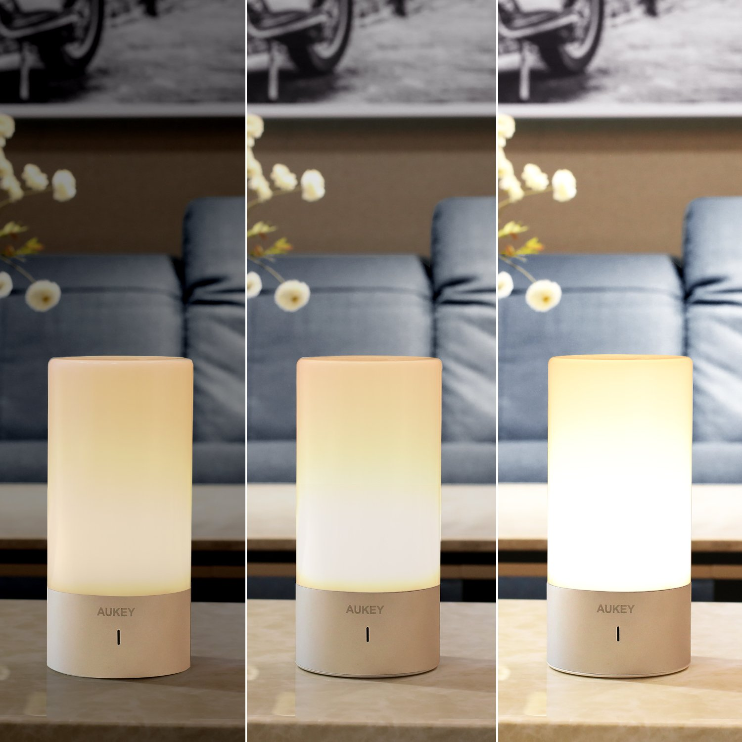 aukey table lamp touch sensor bedside lamp dimmable warm whi