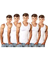 Lux Cozi Men's 100% Cotton White Vests (Pack of 5)