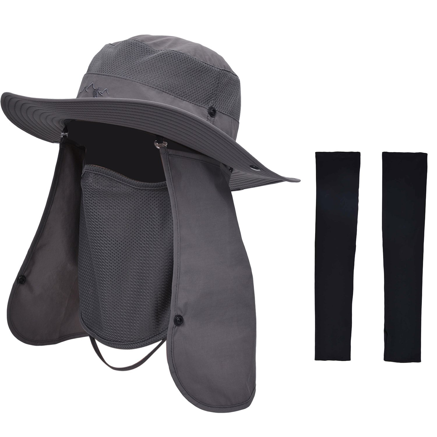 Zoylink Fishing Hat with 1 Pairs Sun Protection Sleeves Summer Outdoor Sun Protection Wide Brim Removable Mesh Neck Face Flap Fishing Cap for Men