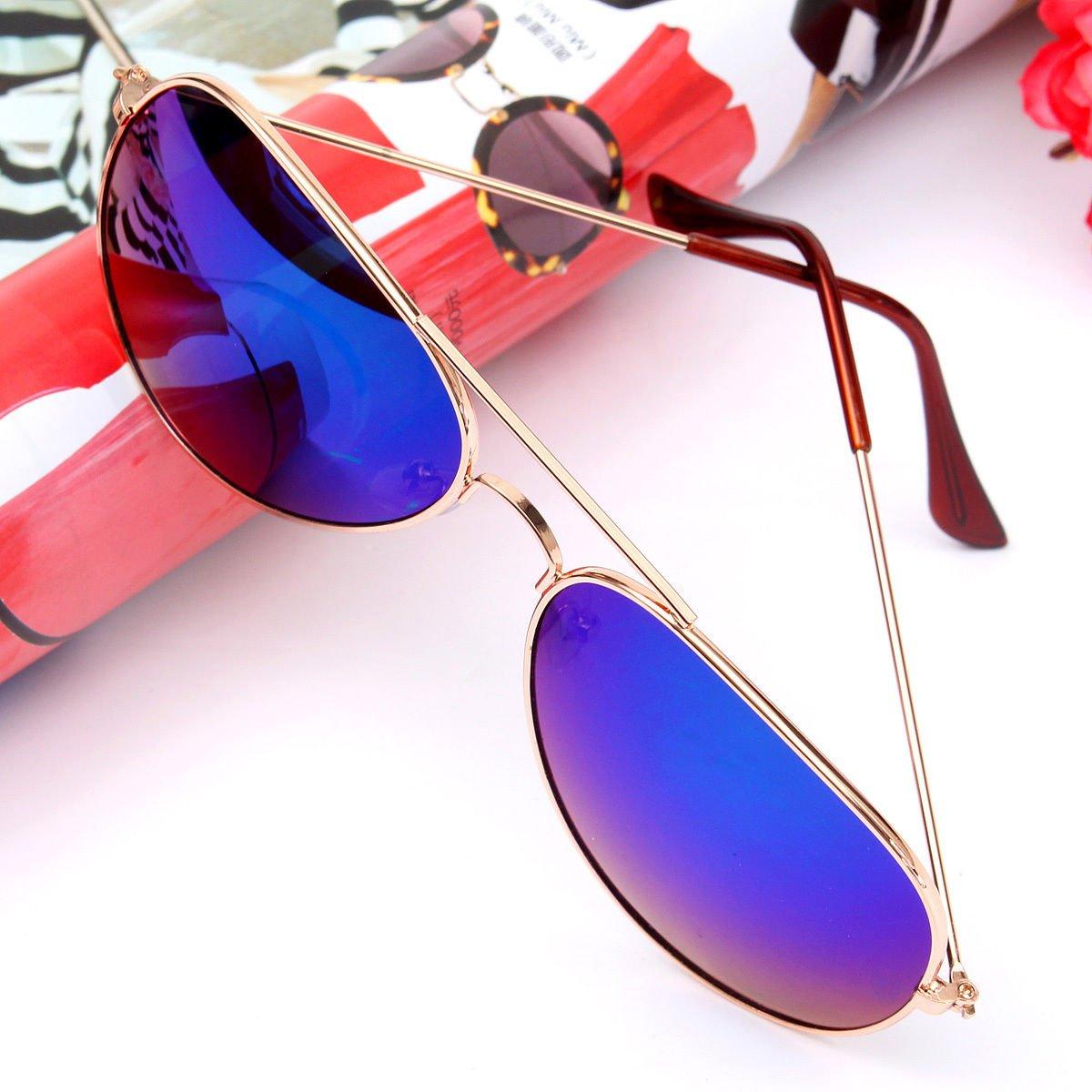 c859eb4363c Amazon.com  Gold Frame   Green Lens Unisex Women Men Vintage Retro Fashion  Aviator Mirror Lens Sunglasses Glasses US  Clothing