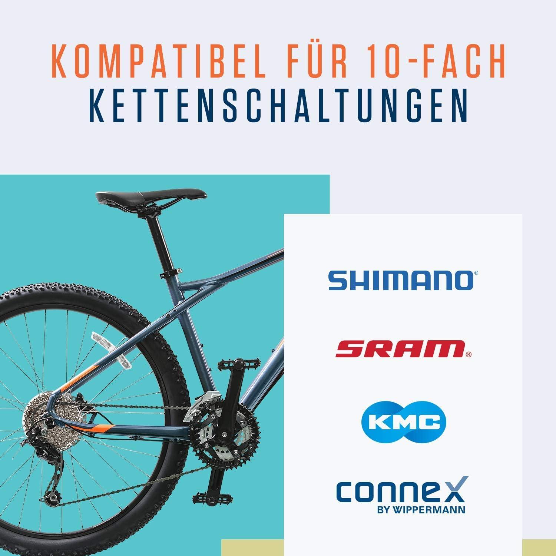 SRAM Connex Alphatrail Cadena de Bicicleta Parker 10 Velocidades I 116 Eslabnoes I Compatible con Shimano KMC Cierre de Cadena Campagnolo I Incl