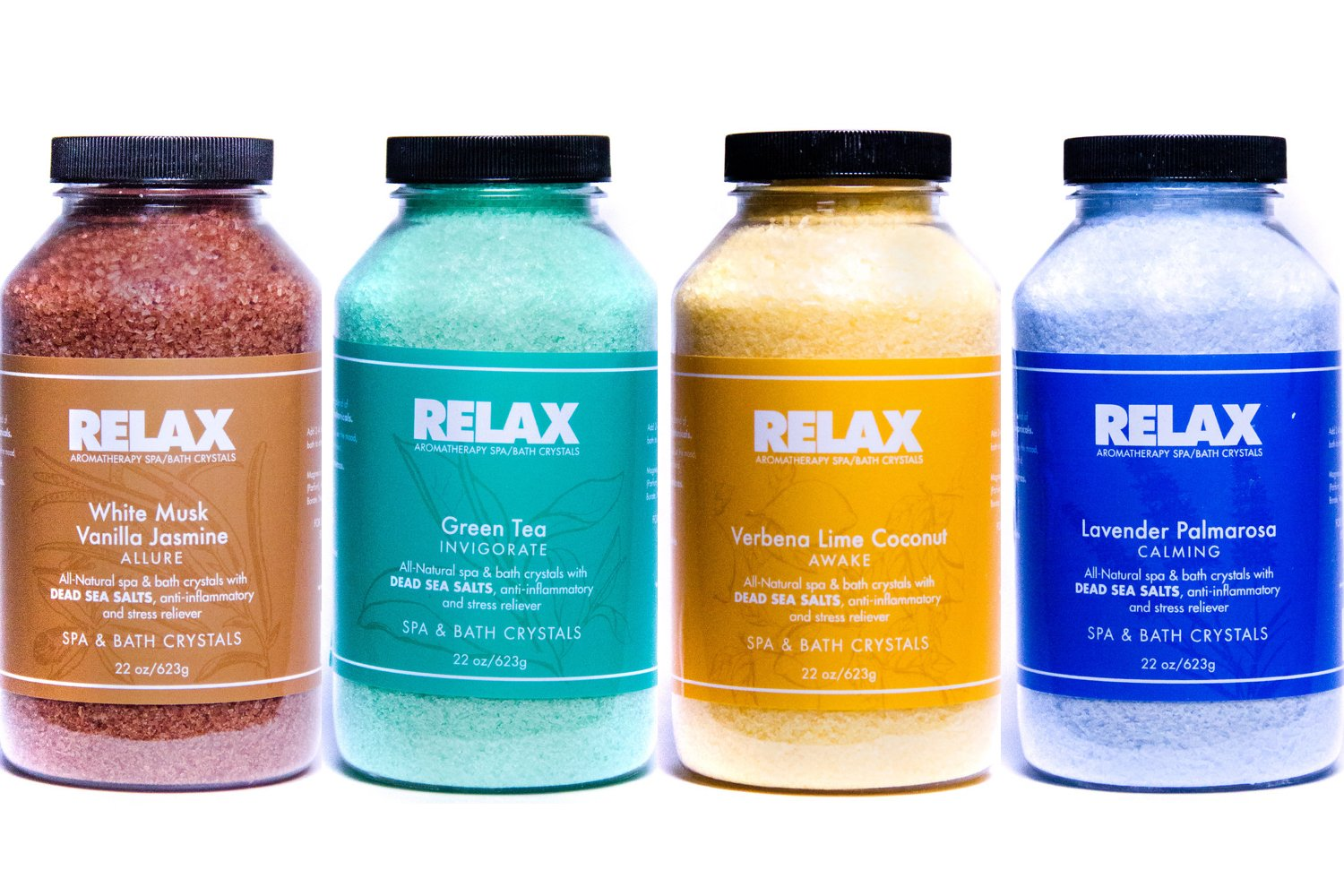 Escape Aromatherapy Bath Crystals -Pack of 4, 22 Oz- All Natural Dead Sea Salts - Aroma Therapy For Hottub, Spa & Whirlpool by Relax Spa & Bath