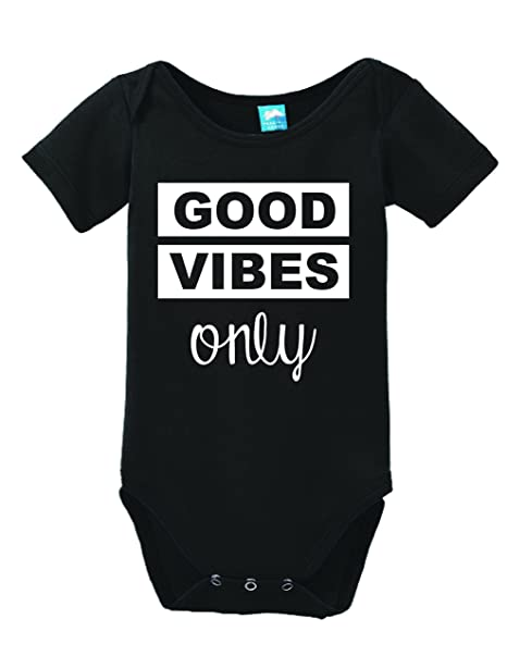 c4eac68100 Amazon.com  Good Vibes Only Printed Infant Bodysuit Baby Romper ...