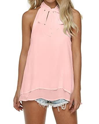 0dec47dff2269 Auxo Women Summer Sexy V Neck Solid Color Sleeveless Casual Loose T Shirt  Tie Tops Blouse