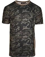 Mens SoulStar Camo Print Curved Hem Longline T-Shirt Short Sleeve Top Size S-XL