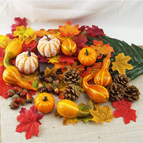 Fall Harvest Craft 50Pcs Artificial Fall Harvest Gourd And Pumpkin Maple Leaf
