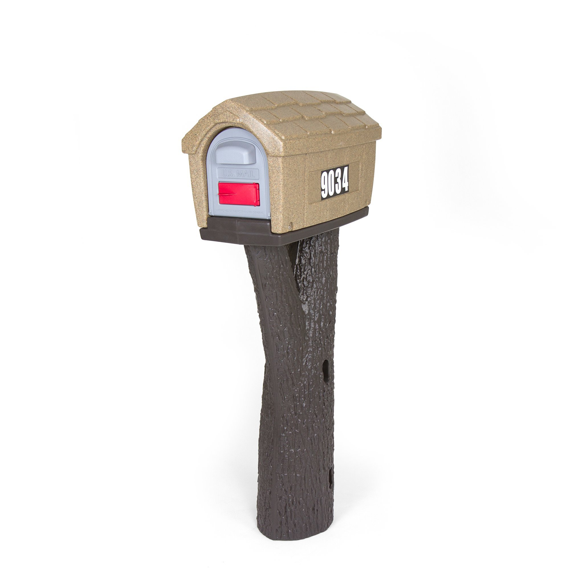 Simplay3 Rustic Home Plastic Post Mount Cabin Mailbox - Sandstone