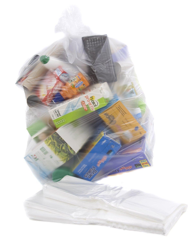 10 Clear Recycling Bags / Sacks / Refuse / Rubbish - 64 Gauge Bag It Plastics