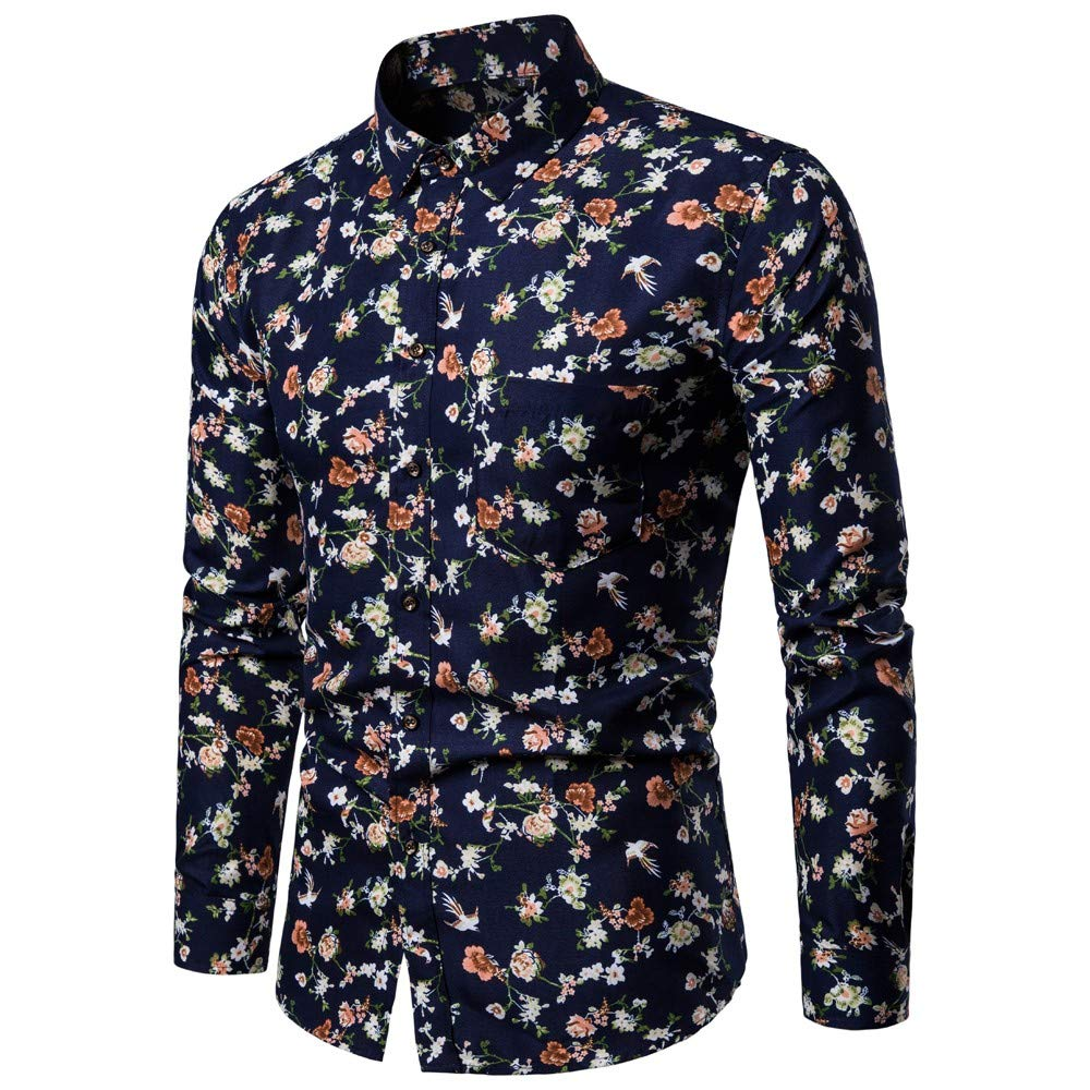 NUWFOR Men's New Pattern Casual Fashion Lapel Printing Long Sleeved Shirt(Blue,US:S Chest 35.4)