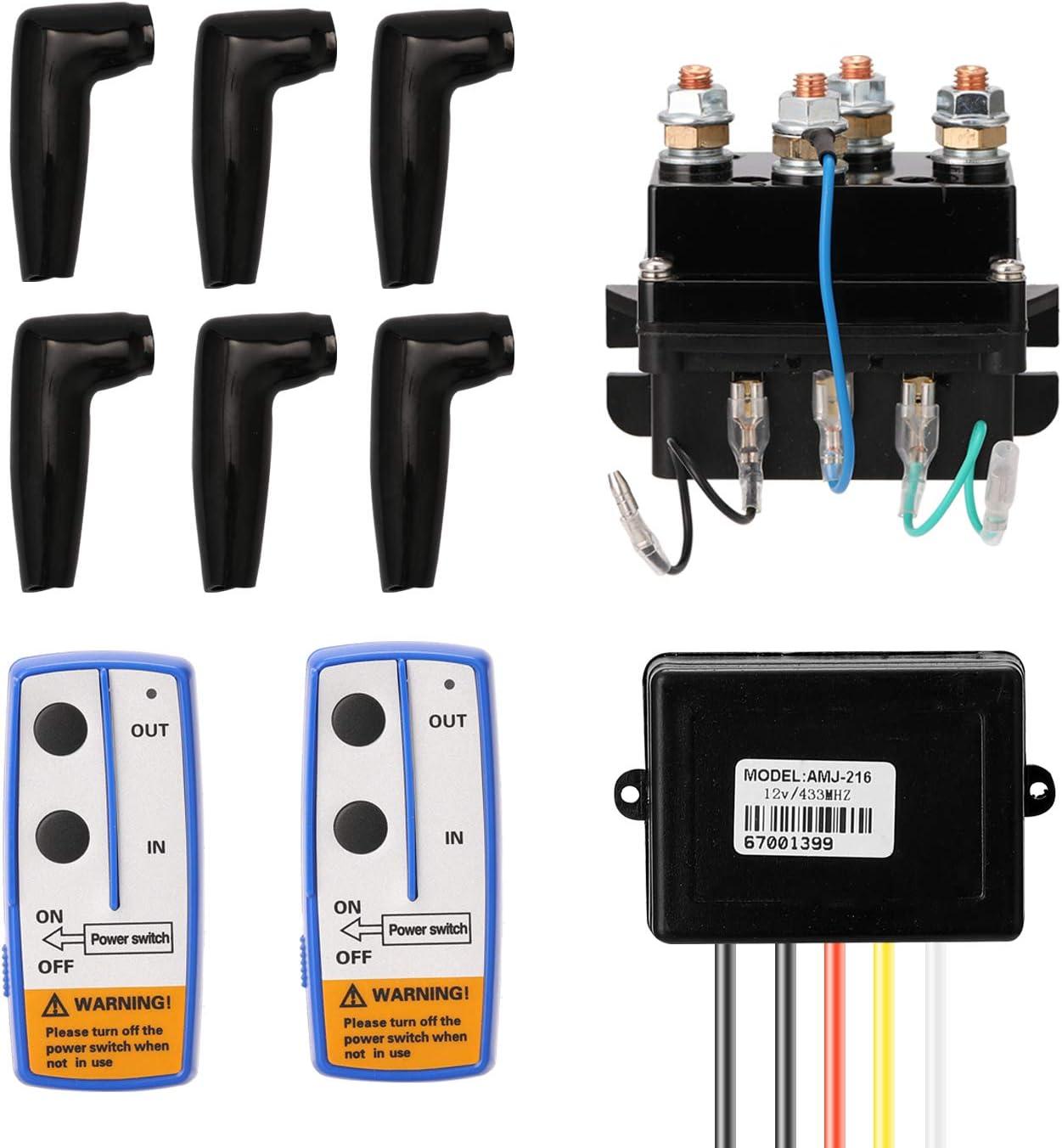 KKmoon Rel/é Electromagn/ético de Cabrestante El/éctrico,DC12V Universal 400A Winch Solenoid Relay,Juego de Cabrestante El/éctrico
