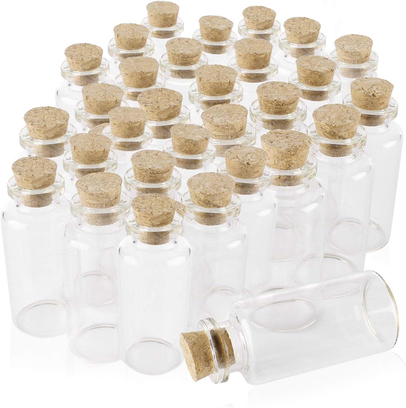 Botes de Cristal con Tapón de Corcho Mini Viales de Vidrio 10 ml Tarro de Vidrio Frascos de Muestra para Decoración de DIY,Especias, Boda, Comunión, Recuerdo de Fiesta