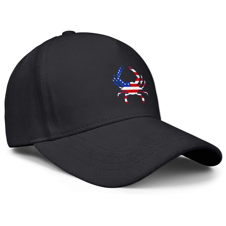 American Flag Crab Unisex Baseball Cap Polyester Running Caps Adjustable Trucker Caps Dad-Hat