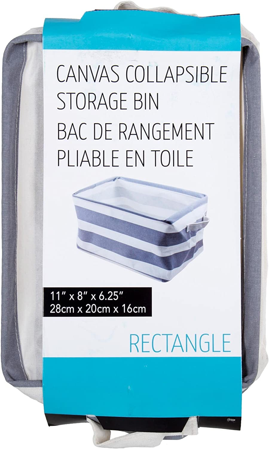 1 1 x 8 x 6.25 Blue Truu Design Canvas Collapsible Storage Bin