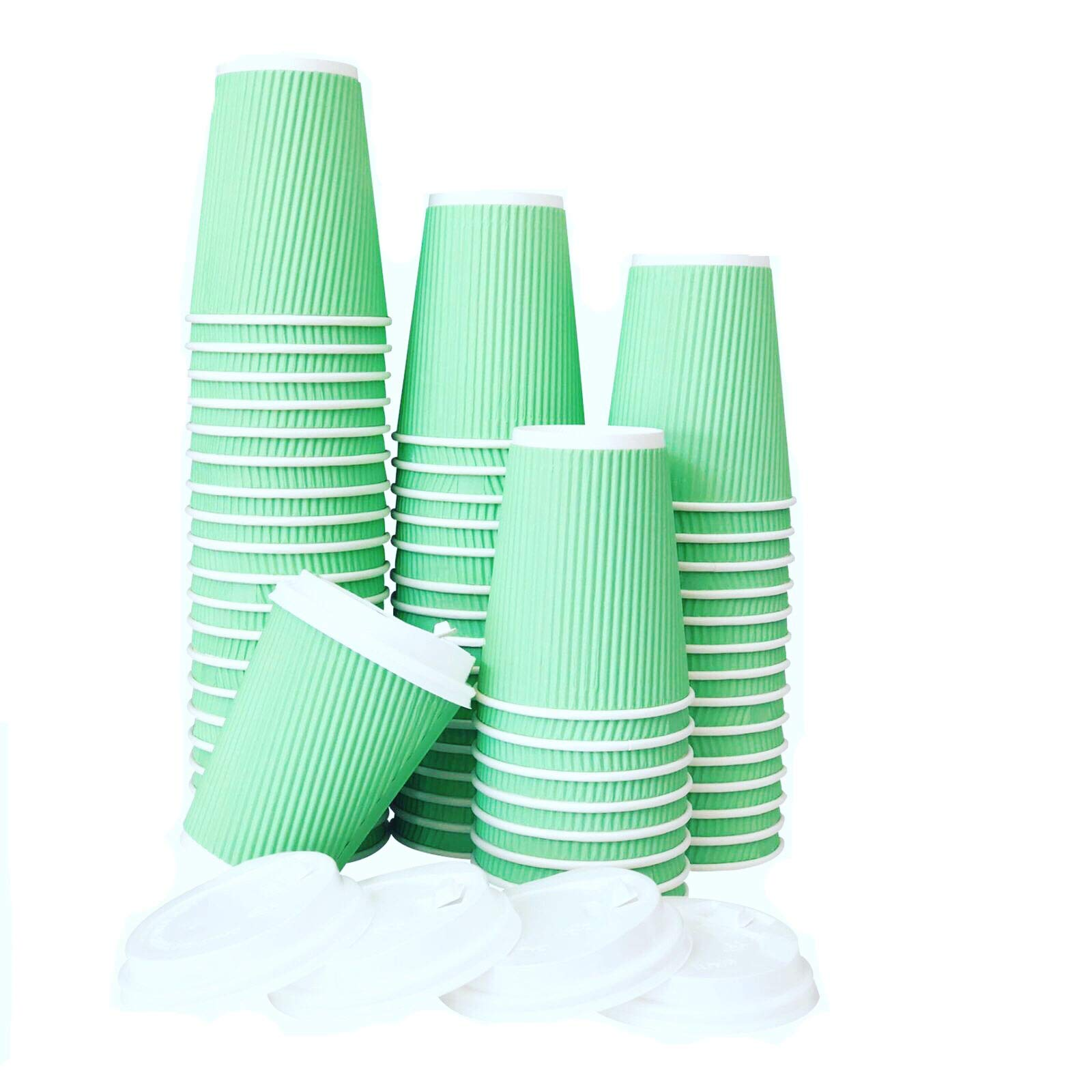 60 Pack -12 oz Premium Quality Disposable Hot Paper Coffee Cups With Lids - Ripple Wall With Insulation For Heat Protection,No Leak Lid,No Sleeves Needed,Perfect To Go,Office,Bars,Parties & Travel by FarSmart (Image #8)