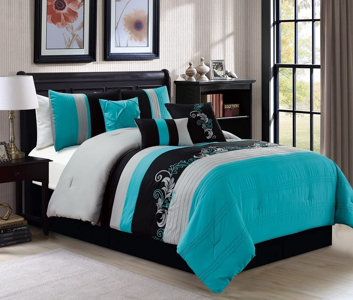 Napa 7-Piece Luxury Leaves Scroll Embroidery Bedding Comforter Set (Queen, Teal/Gray/Black)