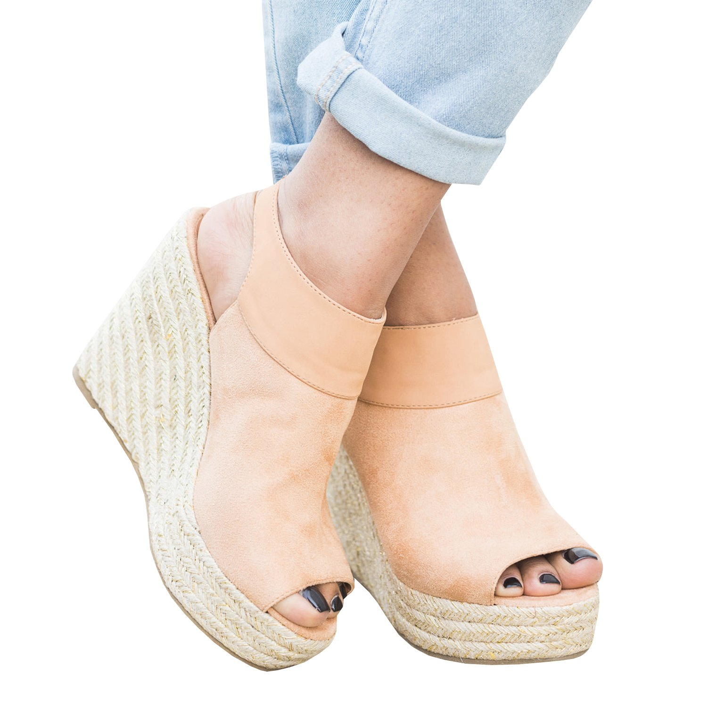 Syktkmx Womens Espadrille Platform Wedge Peep Toe Ankle Strap Mid Heel Suede Sandals