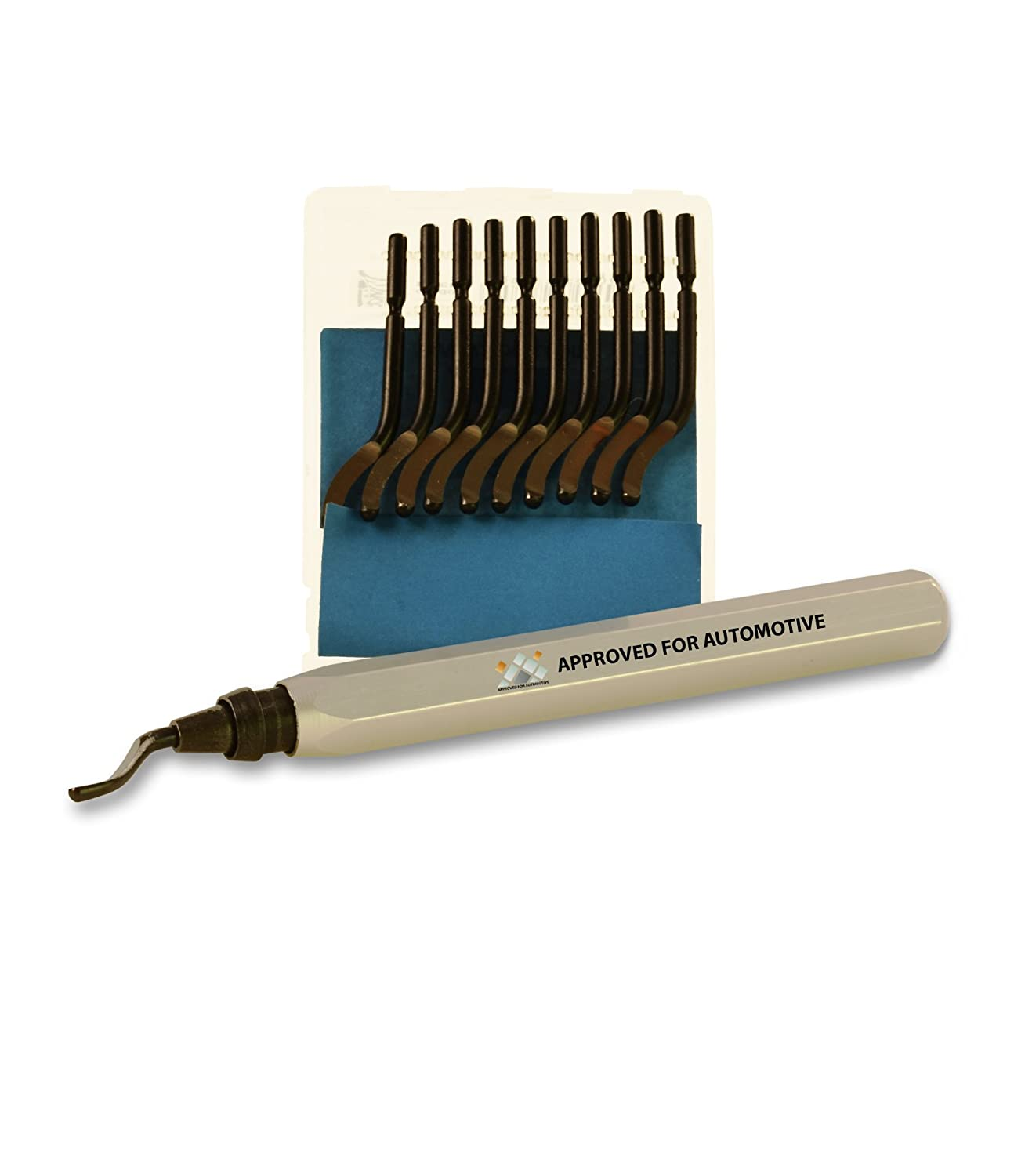 Approved for Automotive Deburring Tool w/Blade + 10 Extra Blades + Tungsten Carbide Scribe
