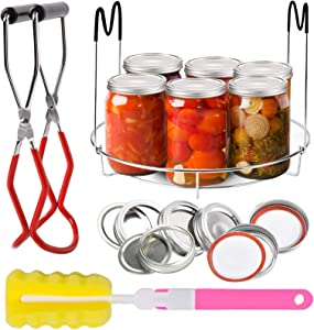 Voaesdk Canning Rack,15 Pcs Canning Essentials Kit,Stainless Steel Canning Jar Rack Canner Steamer Rack with Heat Resistant Handle Canning Jar Lifter Tongs for Regular Mouth and Wide Mouth Mason Jars