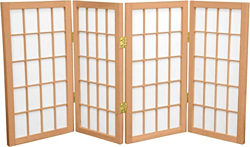 Oriental Furniture 2 ft. Tall Desktop Window Pane Shoji Screen – Natural – 4 Panels