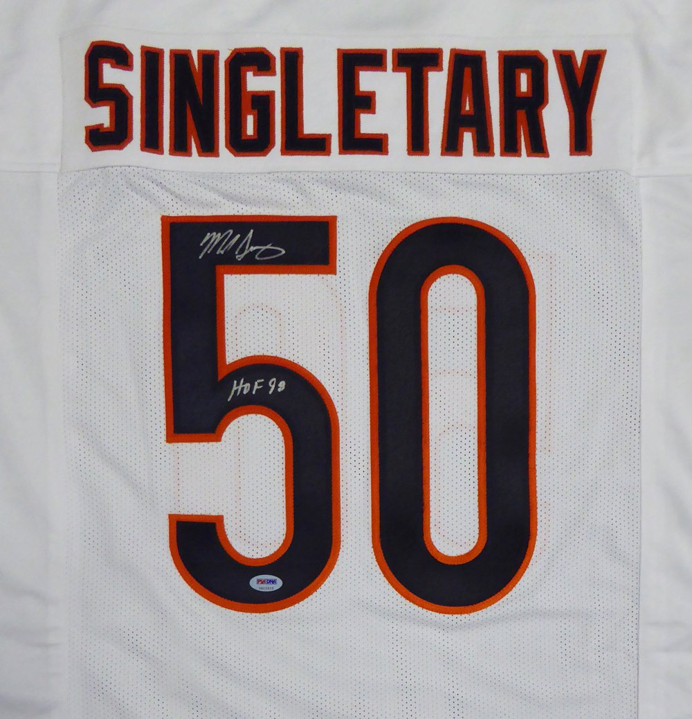 """Chicago Bears Mike Singletary Autographed White Jersey """"HOF 98"""" PSA/DNA"""
