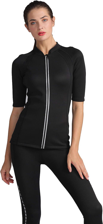 Bakerdani Women Hot Sweat Weight Loss Sauna Shirt Neoprene Top Body Shaper Short Sleeve Waist Trainer Neoprene Sauna Suit
