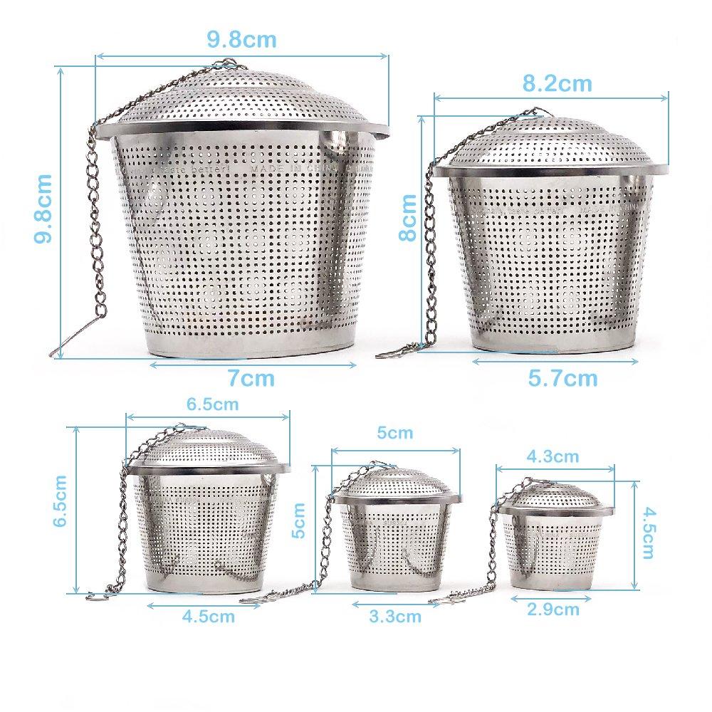 Conjunto de 2 BITEYI Infusor de T/é en Acero Inoxidable Malla Extrafino Colador y Filtro de t/é,con Tapa y Mango