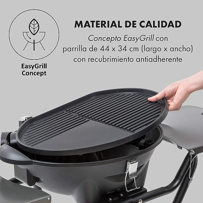 Klarstein Tafelspitz Parrilla eléctrica • Grill con Tapa y Soporte • 1600 W • Plegable • Termómetro • Antiadherente • Placa para cocinar: 44 x 34 cm • ...