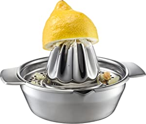 GEFU Citrus Press Lemon, for Juices, Accessories, 18/10 Stainless Steel, 13970, 28.5 x 18 x 32 cm