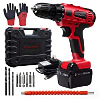 Toolman Led Lithium-ion Cordless Power Drill driver Kit 21V with Drill Set 14 pcs for Heavy Duty ZTP009