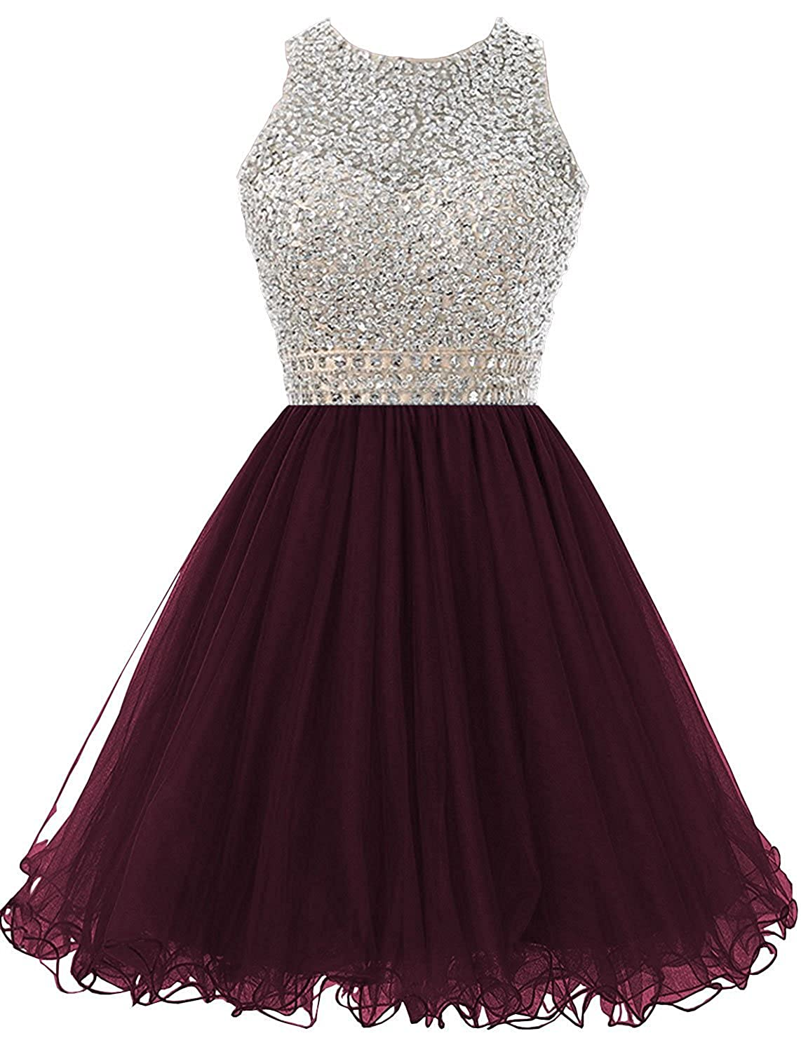 a9c579603f4 Dannifore Beaded Homecoming Dresses for Juniors Sequins Tulle Short Prom  Dress at Amazon Women s Clothing store