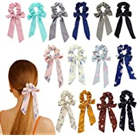 14-Piece Chiffon Scrunchies Bowknot Ribbon Elastics Hair Bands