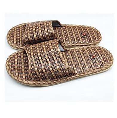 Amazon.com | Adam Woolf Summer Men Slippers Rattan Weaving Home Slippers Unisex Indoor Men Shoes Size 36-44 Zapatillas Hombre Flip Flop | Slippers