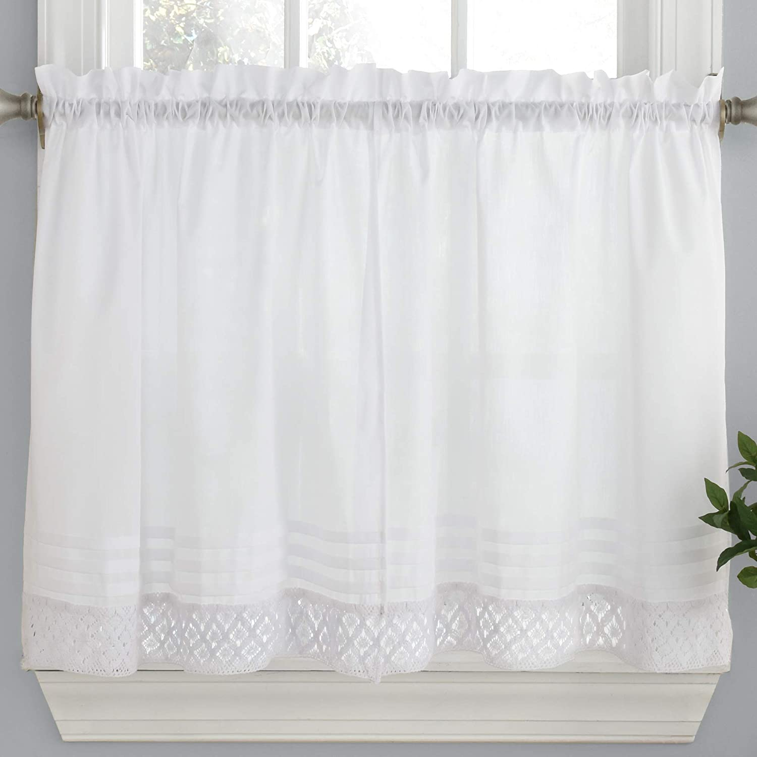 """Sweet Home Collection Kitchen Window Curtain Tier, Swag, or Valance Treatment in Stylish and Unique Patterns and Designs for All Home Décor 36"""", Crochet White"""